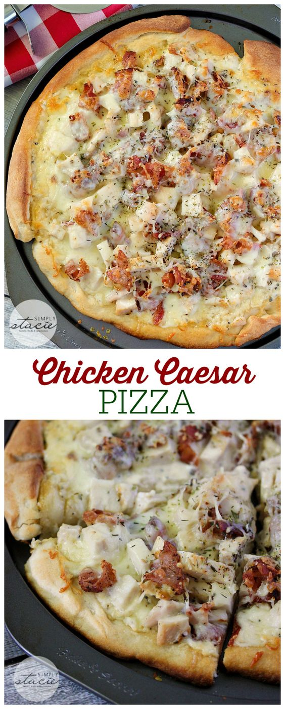 Chicken Caesar Pizza Recipe via Simply Stacie - This recipe for Chicken Caesar Pizza is perfection in a pan! Imagine pizza crust smothered in creamy Caesar dressing, topped with bacon, chicken and cheese!