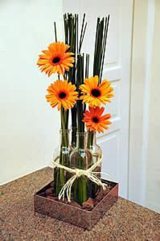 Arranjo de Mesa para Festas / Decoração com Garrafas de Vidro / DIY Decoration / DIY Wedding: