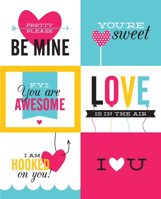 Free printable Valentine's Day cards via Sarah Champion