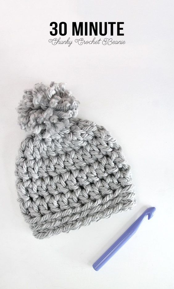 Easy Chunky Crochet Beanie - a 30 minute hat! Free pattern from Persia Lou: