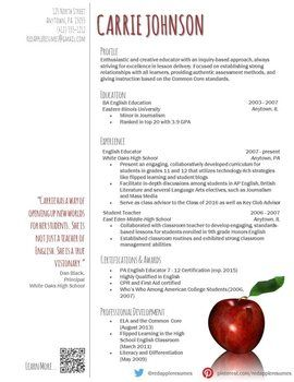 teacher resumes resume and templates on pinterest