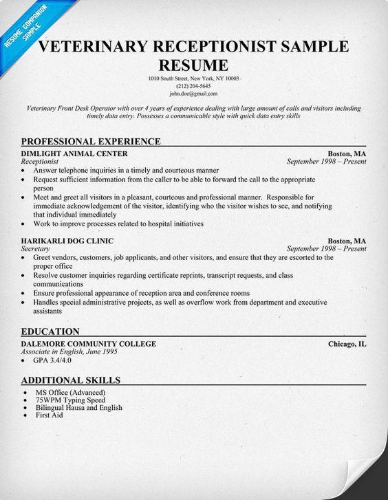 veterinary receptionist resume and sample resume on pinterest