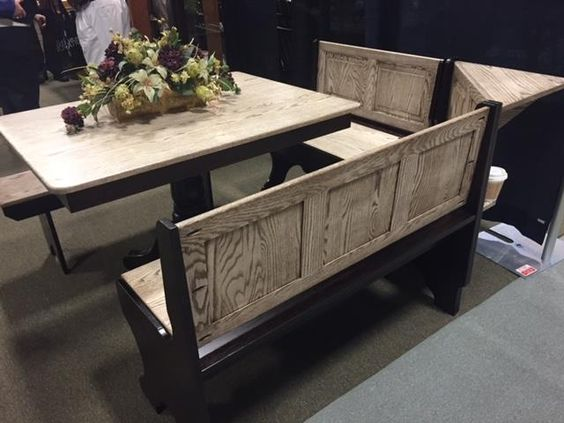 Amish Breakfast Nook Set In Solid Wood