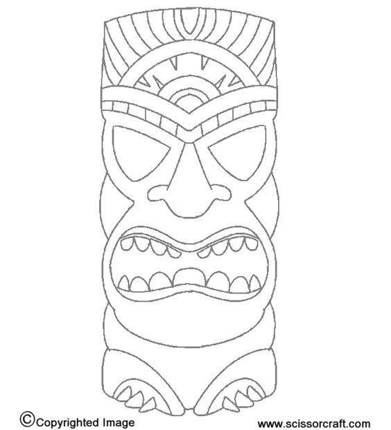 tiki statue  print to make masks or use as idea for kids