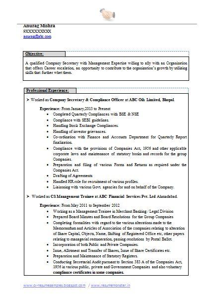 company secretary resume and secretary on pinterest