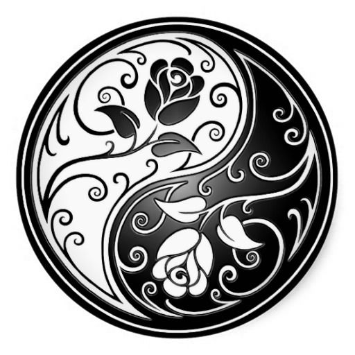 Yin Yang Roses, black Classic Round Sticker: