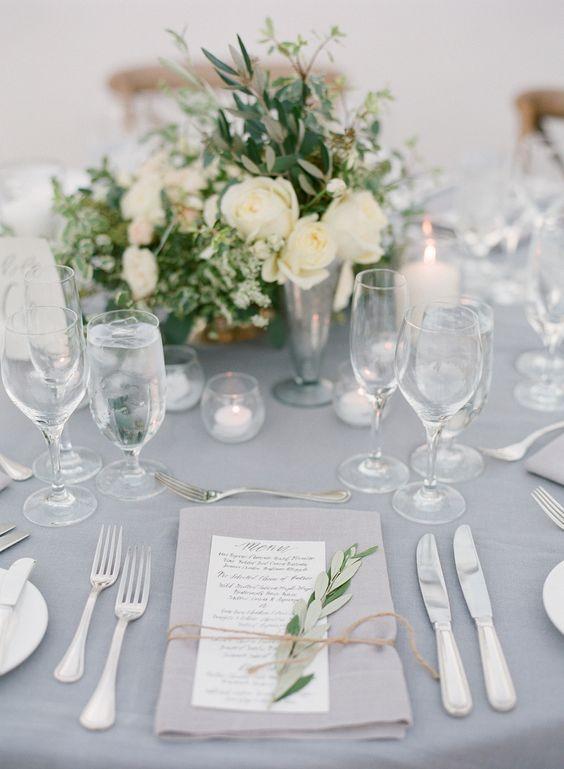 white and grey wedding table decor / http://www.deerpearlflowers.com/grey-fall-wedding-ideas/: