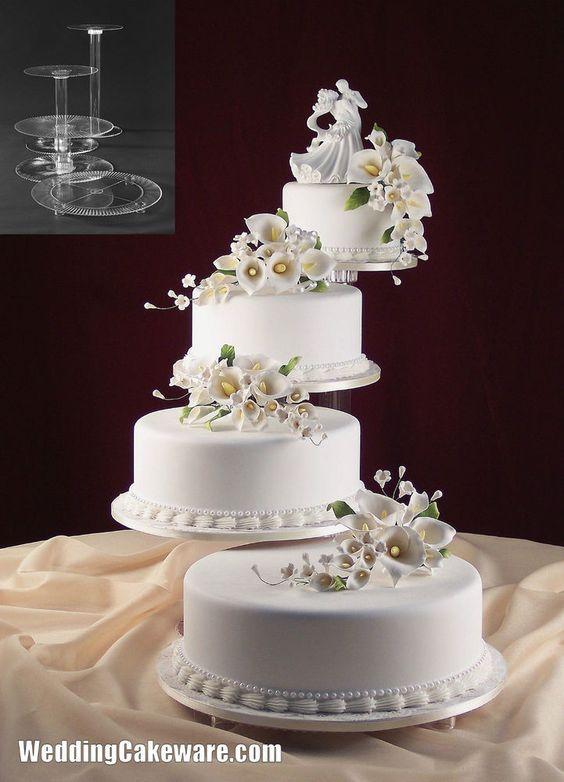 4 Tier Cascading Wedding Cake Stand Stands Set Wedding