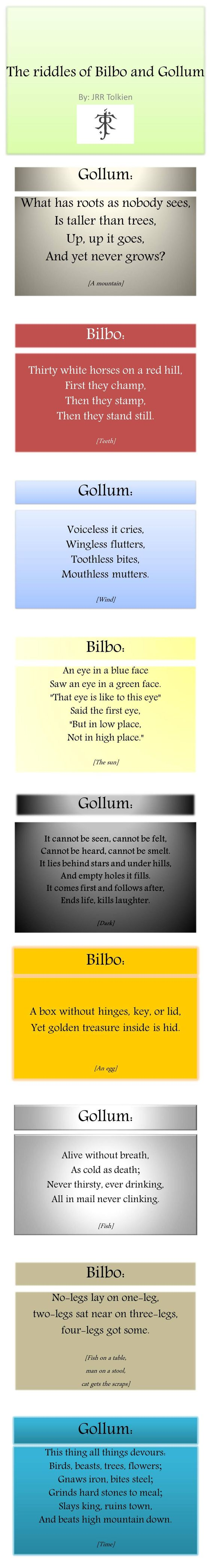 Riddles Tolkien. The last one is by Bilbo and he asks