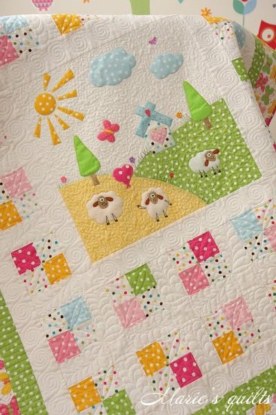 Marie's quilts: Pastorale # 3. This woman lives in Russia and is very inspiring in her bright, happy work.: