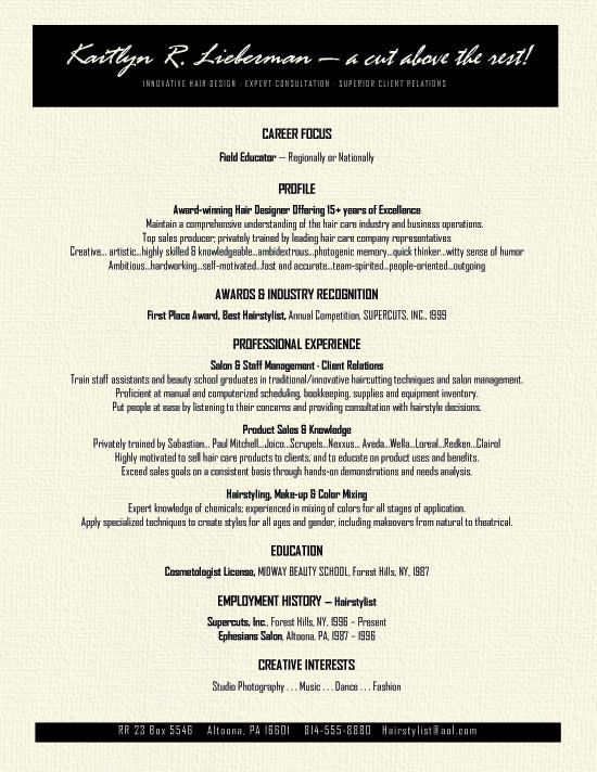 resume examples hair stylists and resume on pinterest