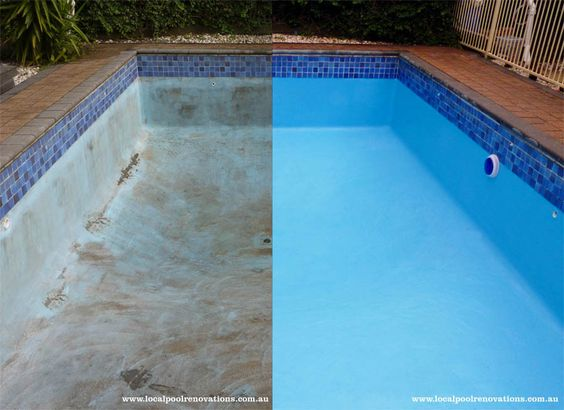 Before after Painted pool Melbourne Victoria Australia Epoxy Paint Luxapool local pool renovations www.localpoolrenovations.com.au glaze sealer coping tiles resurfacing - LOCAL POOL RENOVATIONS, Swimming Pools, Springvale, VIC, 3171 - TrueLocal: