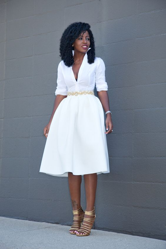 Button Down Shirt + White Box Pleat Midi: