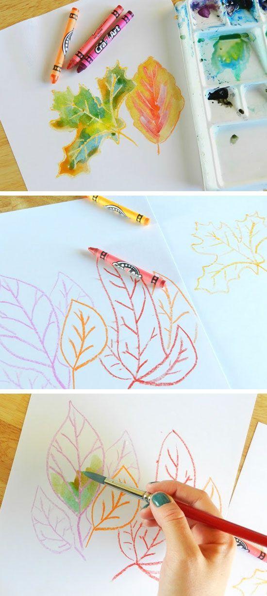 Herbstblätter - Neocolor und Wasserfarben: