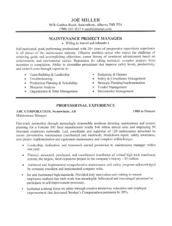 maintenance manager resume sample page 1 resume writing for