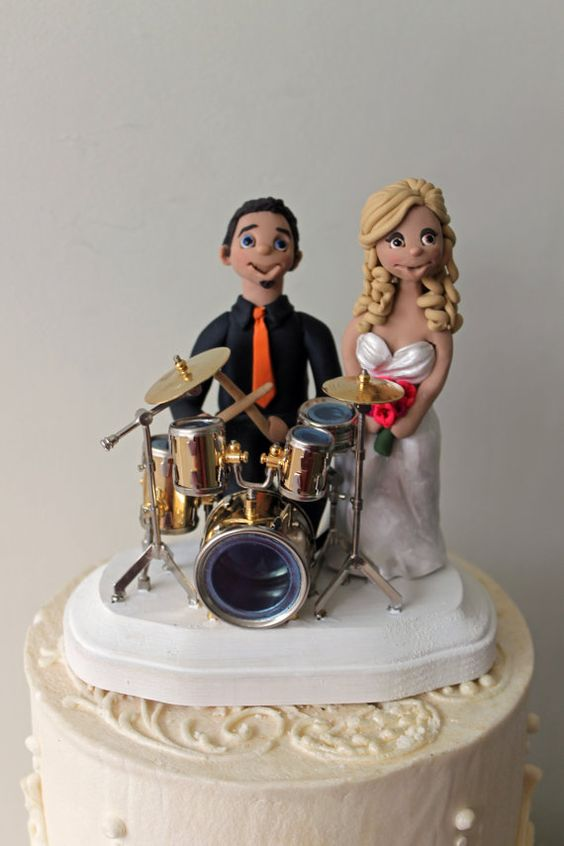 Customized Drummer Wedding Cake Topper Drum By