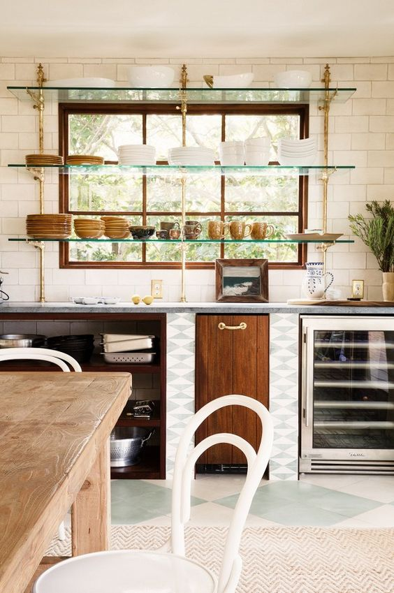 BRASS HARDWARE AND GREEN GLASS SHELVES!!!!   These Kitchens Get Beautiful Organization Right via @mydomaine: