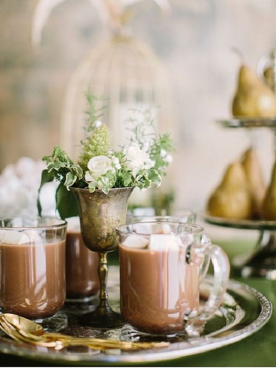 Elegant, spiked hot chocolate station for a wedding reception . Perfect for a wedding in the winter time. #WeddingPlanning:
