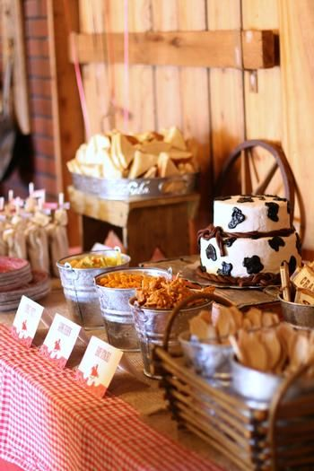 Table decor for cowboy baby shower