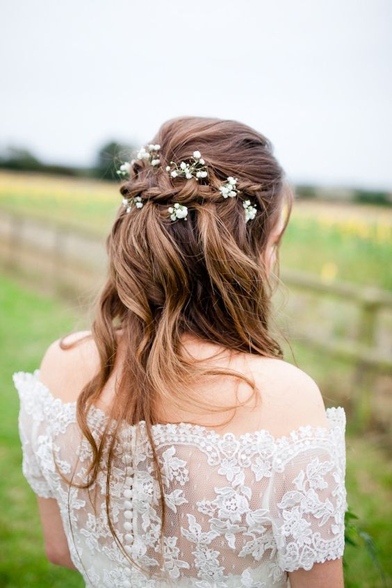 Bride Plait Waves Tousled Flowers Pretty Style Country Rustic Home Farm Wedding http://www.whitestagweddings.com/: