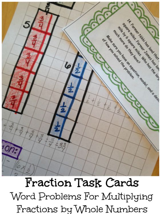 Work on word problems mainly focusing on multiplying fractions by whole numbers. The majority of problems are multi-step and require the students to write equations and draw models. Get 6 task cards for FREE.: