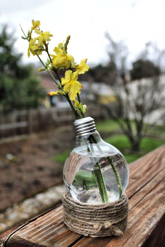 Twine wrapped base light bulb terrarium /vase: