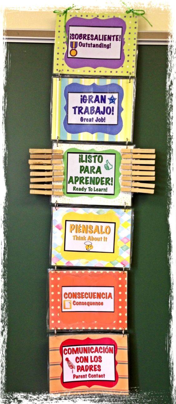 DIY Bilingual Behavior Chart (Spanish/English, Text and