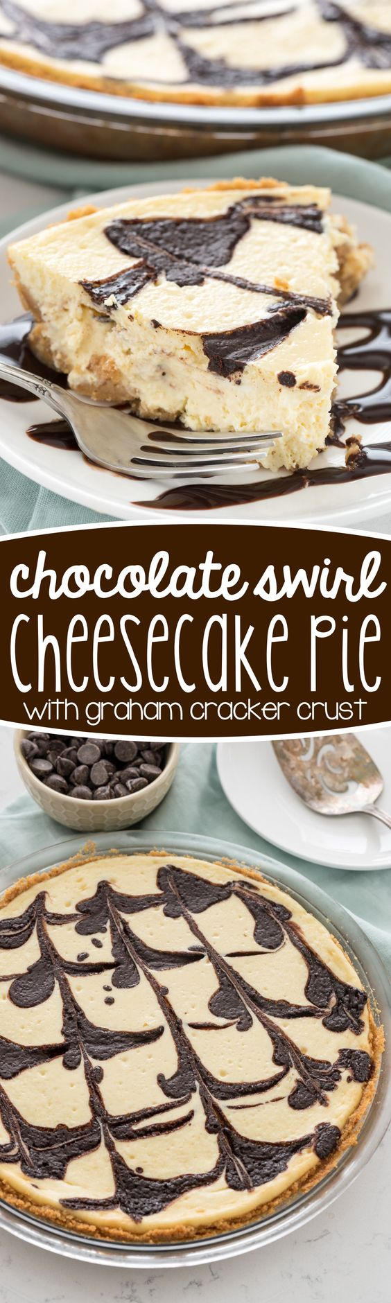 Chocolate Swirl Cheesecake Pie Recipe via Crazy for Crust - this baked cheesecake recipe is so easy! No water bath or fussy steps, just a creamy cheesecake swirled with chocolate!