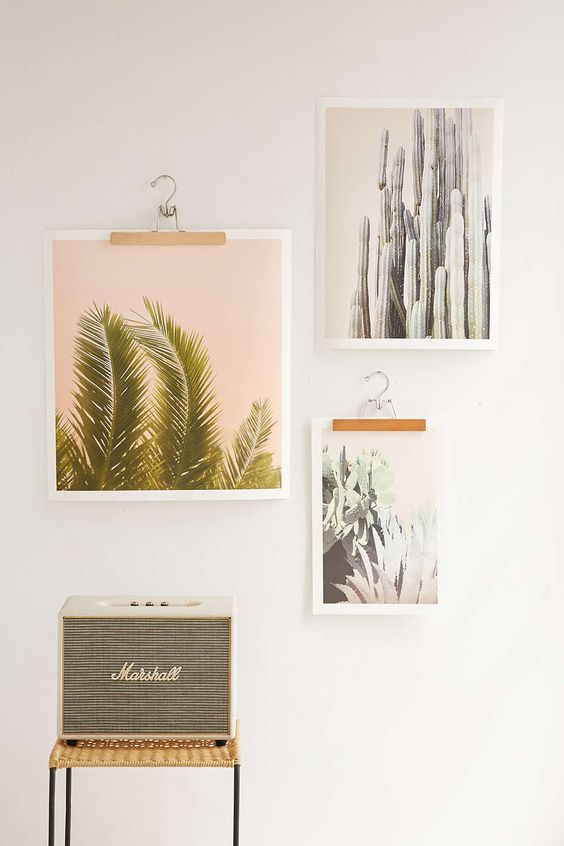 hang your art and photo's on clothes hangers