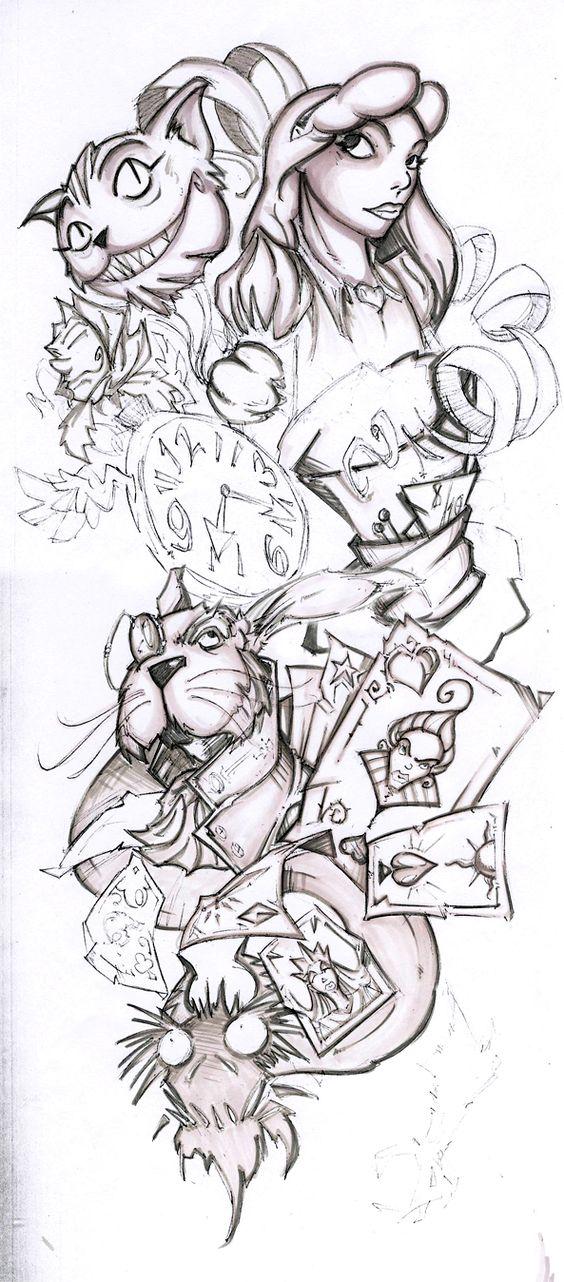 Half+Sleeve+Tattoo+Drawings WIP Alice Half Sleeve by