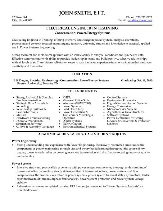 electrical engineering resume format electrical engineer resume