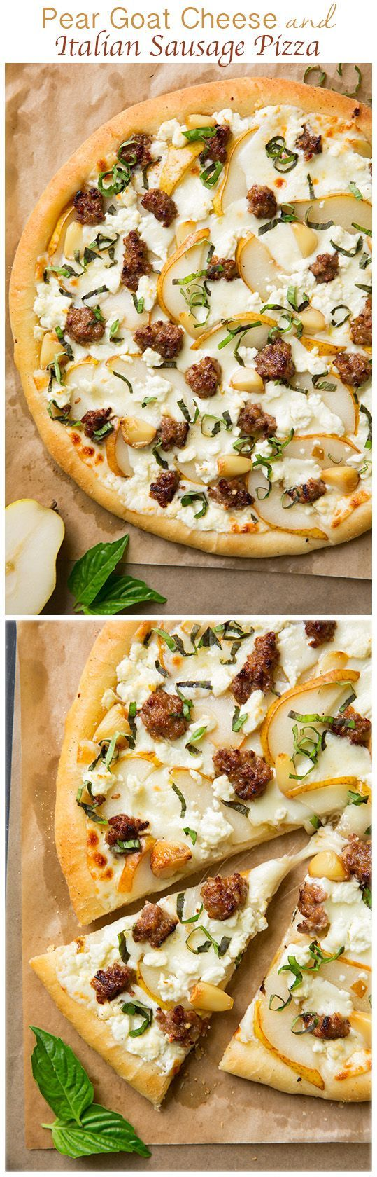 Pear Goat Cheese and Italian Sausage Pizza with Roasted Garlic and Fresh Basil Recipe via Cooking Classy - this pizza is out of this world AMAZING! If you like flavor you'll love this pizza!! The ultimate fall pizza.