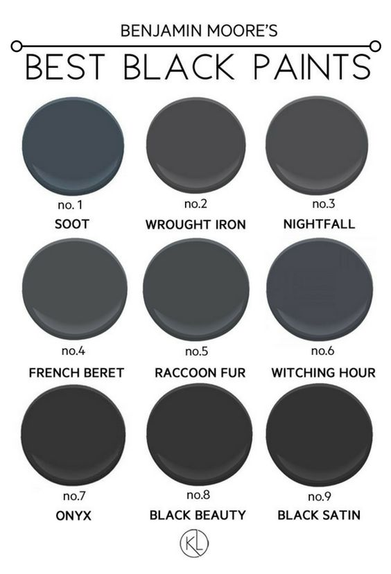 The Best Black Paint Colours from Benjamin Moore. Popular shades like soot and onyx - which one is the right fit for you?! Click through to see all the paints in action!: