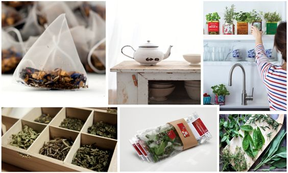 Mood Boards Loose Leaf Tea Mood Board with Distressed Teapot Kitchen Garden Indoor Plants