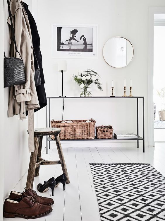 Scandinavian interior design, great idea to style and decorate an entryway. Are you looking for beautiful art photo prints for your decor? Visit http://bx3foto.etsy.com: