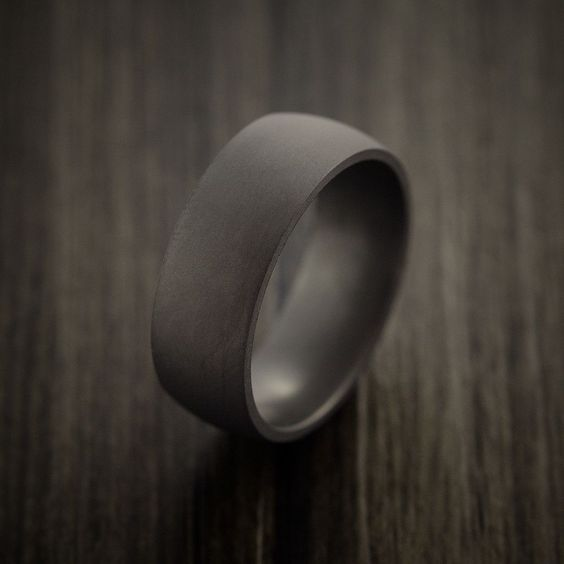 Elysium Black Diamond Wedding Band Domed With Matte Finish