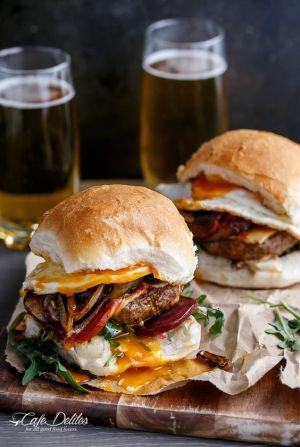 Drunken Aussie Beef Burgers: