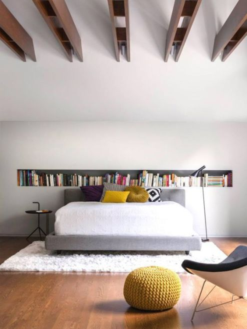 la SHED architecture - great shag under bed, great chair, beautiful ceiling pattern, cool bookshelf.: