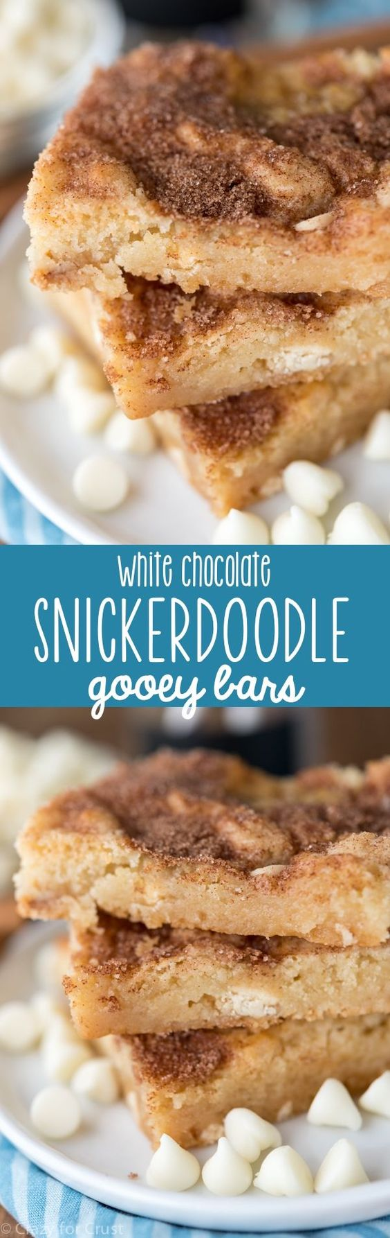 EASY White Chocolate Snickerdoodle Gooey Bars Dessert Recipe via Crazy for Crust - These EASY White Chocolate Snickerdoodle Gooey Bars are full of cinnamon sugar! Cookie bars are the best, and these are my favorite!