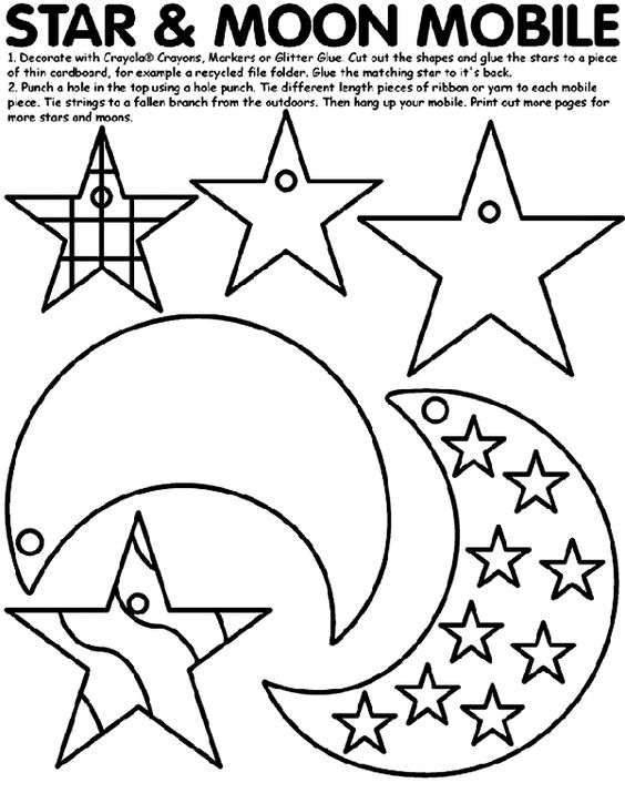17 best images about moon and stars mobile  coloring