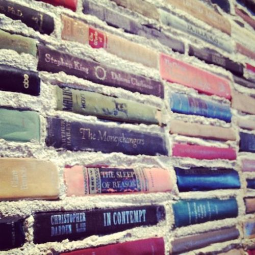 Books as Decoration Book Decor Home Library DIY Project Brick Wall Art