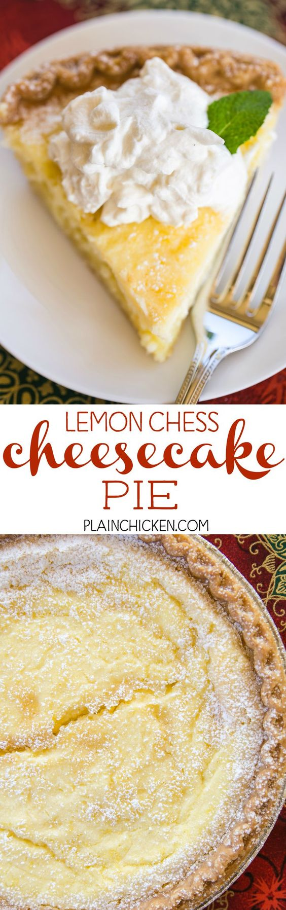 Lemon Chess Cheesecake Pie Recipe via Plain Chicken - two favorites in one dessert! Quick cheesecake layer on the bottom and a delicious homemade lemon chess pie on top! The BEST Easy Lemon Desserts and Treats Recipes - Perfect For Easter, Mother's Day Brunch, Bridal or Baby Showers and Pretty Spring and Summer Holiday Party Refreshments!