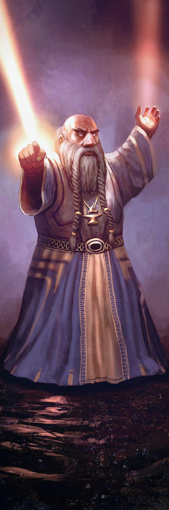 Dwarf light mage firing a sunlance spell he bears a