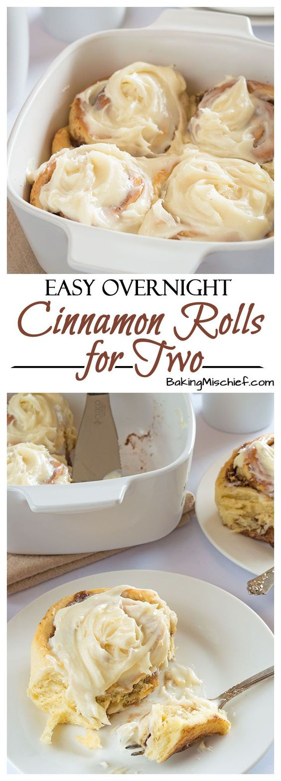 Easy Overnight Cinnamon Rolls for Two Recipe via Baking Mischief - A rich and indulgent breakfast with outrageously amazing cream cheese frosting. Make the rolls the night before, throw them in the oven in the morning, and enjoy your breakfast in bed. No fuss, stress, or mixer needed!