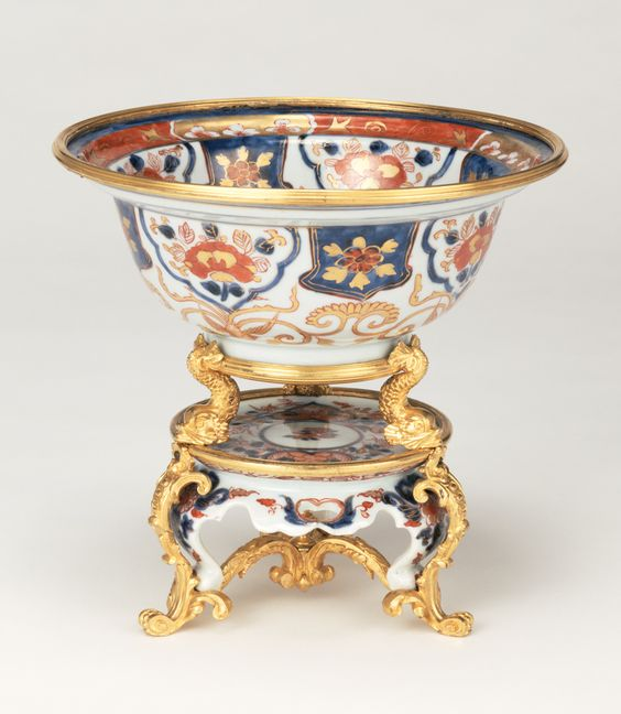 Bowl on Stand; Unknown; Imari, Japan; stand late 17th century; bowl about 1720; mount about 1740; Porcelain and gilt bronze mounts; 18.1 × 19.8 cm (7 1/8 × 7 13/16 in.); 74.DI.28:
