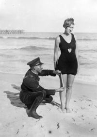 Image result for police measuring bathing suit
