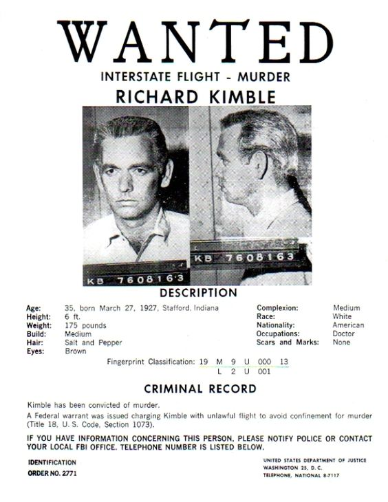 Richard Kimble's Wanted poster