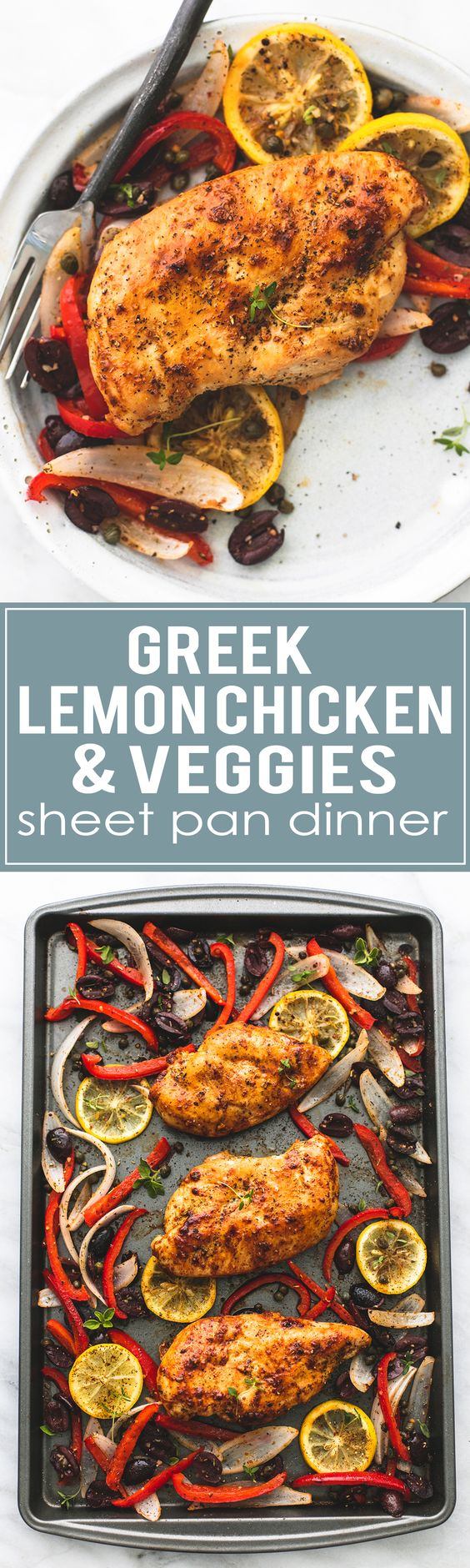 Easy healthy Baked Greek Chicken & Veggies Sheet Pan Dinner Recipe via Creme de la Crumb - an easy to make and incredibly tasty meal the whole family loves!