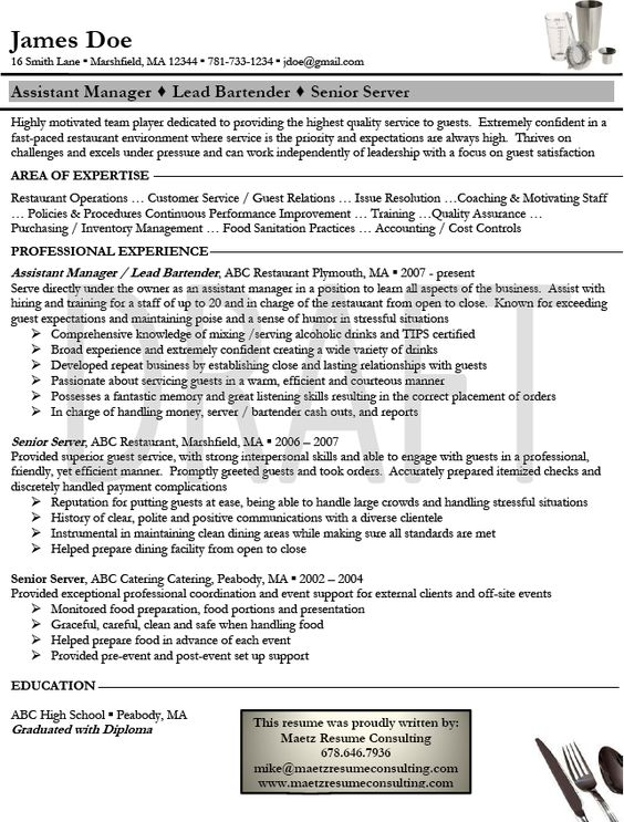 Resume For Server Bartender. Newest Bartender Resume Examples