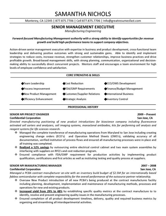 resume manufacturing engineering and engineering on pinterest